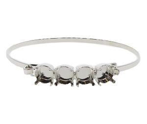 Bangle Bracelet Setting #7935 Silver for 1088/1122 SS39 Stones (2 Pieces)  - CLEARANCE