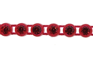 Preciosa Rhinestone Plastic Banding 1 Row SS13 Flame Red/Light Siam (10 Meters)