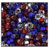Rocailles #2155 8/0 Square Hole 19964 Red/Crystal/Blue Transparent S/L (1/2 Kilo)  - CLEARANCE