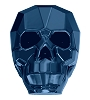 Swarovski 5750 Skull Bead 13mm Crystal Metallic Blue 2x (12 Pieces)