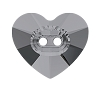 Swarovski 3023 Heart Button 12x10.5mm Crystal Silver Night (144 Pieces)