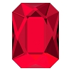 Swarovski 2602 Hot Fix Emerald Cut Flatback Rhinestones 14x10mm Scarlet (72 Pieces)