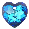 Swarovski 6215 Fancy Heart Pendant 18mm Crystal Bermuda Blue (Protective Layer)