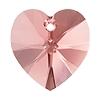 Swarovski 6228 Xilion Heart Pendant 10.3x10mm Rose Peach