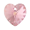 Swarovski 6228 Xilion Heart Pendant 10.3x10mm Light Rose AB