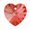 Swarovski 6228 Xilion Heart Pendant 10.3x10mm Crystal Red Magma