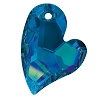 Swarovski 6261 Devoted 2 U Heart Pendant 36mm Crystal Bermuda Blue (Protective Layer)