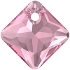 Swarovski 6431 Princess Cut Pendant 11.5mm Rose
