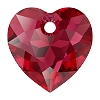 Swarovski 6432 Heart Cut Pendant 10.5mm Scarlet