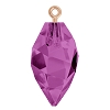 Swarovski 6541 Twisted Drop Pendant (half hole) with Bail 14.5mm Rose Gold/Amethyst (48 Pieces)