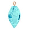 Swarovski 6541 Twisted Drop Pendant (half hole) with Bail 14.5mm Rose Gold/Aqua (48 Pieces)