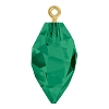 Swarovski 6541 Twisted Drop Pendant (half hole) with Bail 14.5mm Gold/Emerald (48 Pieces)