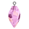 Swarovski 6541 Twisted Drop Pendant (half hole) with Bail 14.5mm Gun Metal/Crystal Lilac Shadow (48 Pieces)