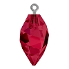 Swarovski 6541 Twisted Drop Pendant (half hole) with Bail 14.5mm Gun Metal/Ruby (48 Pieces)