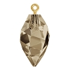 Swarovski 6541 Twisted Drop Pendant (half hole) with Bail 14.5mm Gold/Smoky Quartz (48 Pieces)