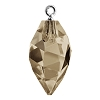Swarovski 6541 Twisted Drop Pendant (half hole) with Bail 14.5mm Rhodium/Smoky Quartz (48 Pieces)