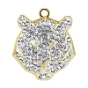 Swarovski 67511 Pave Tiger Pendant 16mm Gold/Crystal (6 Pieces)