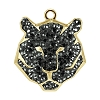 Swarovski 67511 Pave Tiger Pendant 16mm Gold/Jet Hematite (6 Pieces)