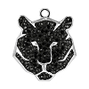 Swarovski 67511 Pave Tiger Pendant 16mm Rhodium/Jet (6 Pieces)