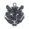 Swarovski 67511 Pave Tiger Pendant 16mm Rhodium/Crystal Silver Night (6 Pieces)