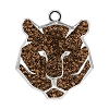 Swarovski 67511 Pave Tiger Pendant 16mm Rhodium/Smoked Topaz (6 Pieces)