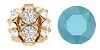 Swarovski #5201 Rhinestone Ball 8mm Gold/Turquoise (72 Pieces) - CLEARANCE