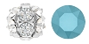 Swarovski #5201 Rhinestone Ball 10mm Silver/Turquoise (48 Pieces) - CLEARANCE