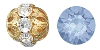 Swarovski Rhinestone Filigree Beads 9755 10mm Gold/Blue Opal (144 Pieces) - CLEARANCE