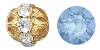 Swarovski Rhinestone Filigree Beads 9755 6mm Gold/Blue Opal (144 Pieces) - CLEARANCE