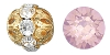 Swarovski Rhinestone Filigree Beads 9755 6mm Gold/Pink Opal (144 Pieces) - CLEARANCE