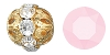 Swarovski Rhinestone Filigree Beads 9755 6mm Gold/Rose Alabaster (144 Pieces) - CLEARANCE