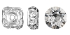 Swarovski #9842 Rhinestone Square Rondelle 8mm Silver/Crystal (72 Pieces)