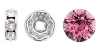 Swarovski #9843 Rhinestone Rondelle 7mm Silver/Rose (144 Pieces)