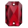 Swarovski 3252 Emerald Cut Sew-On 14x10mm Scarlet (36 Pieces)