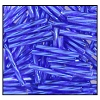 Twisted Bugle Bead #2403 #3 37080 Dark Sapphire Transparent Silver Lined (1/2 Kilo) - CLEARANCE