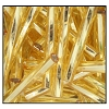 Twisted Bugle Bead #2403 20mm 17020 Straw Gold Transparent Silver Lined (1/2 Kilo) - CLEARANCE