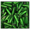 Twisted Bugle Bead #2403 #3 57060 Emerald Transparent Silver Lined (1/2 Kilo) (LOOSE) - CLEARANCE