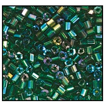 2 Cut Bead (2x) #2200 11/0 51060 Emerald Transparent Iris (1/2 Kilo)