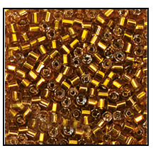 2 Cut Bead (2x) #2200 11/0 17090 Dark Gold Transparent Silver Lined (1/2 Kilo) - CLEARANCE