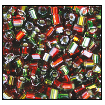 2 Cut Bead (2x) #2200 9/0 57797 Siam/Emerald Transparent Silver Lined (1/2 Kilo) - CLEARANCE