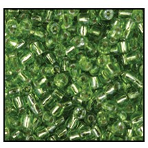 3 Cut Bead (3x) #2300 9/0 57430 Peridot Transparent Silver Lined (1 Bunch)