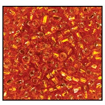 3 Cut Bead (3x) #2300 9/0 97030 Orange Transparent Silver Lined (1 Bunch)