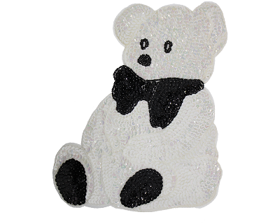 "Large Bear Beaded & Sequin Applique #8893 10.5""x9"" White AB"