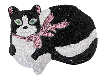 Beadedsequin Applique Cat 9278l Blackwhite Harman