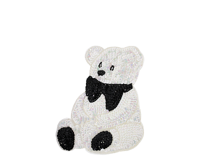 "Medium Bear Beaded & Sequin Applique #8892 7.5""x6"" - CHOOSE YOUR COLOR"