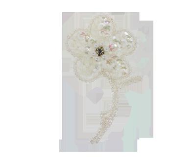 Sequin beaded pearl rhinestone applique flower km8267 iris harman