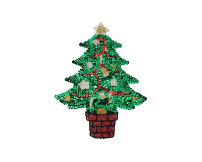 "Small Christmas Tree Beaded & Sequin Applique #9289S 7.5""x6"""