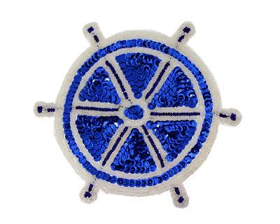 Sequin beaded applique ships wheel s9140 harman