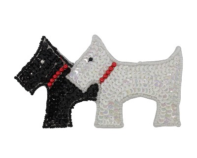 "2 Scottie Dogs Beaded & Sequin Applique #D71 5.5""x3"" - CHOOSE YOUR COLOR"