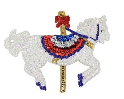 "Carousel Horse Beaded & Sequin Applique #9032 7.5""x6"" White/AB"